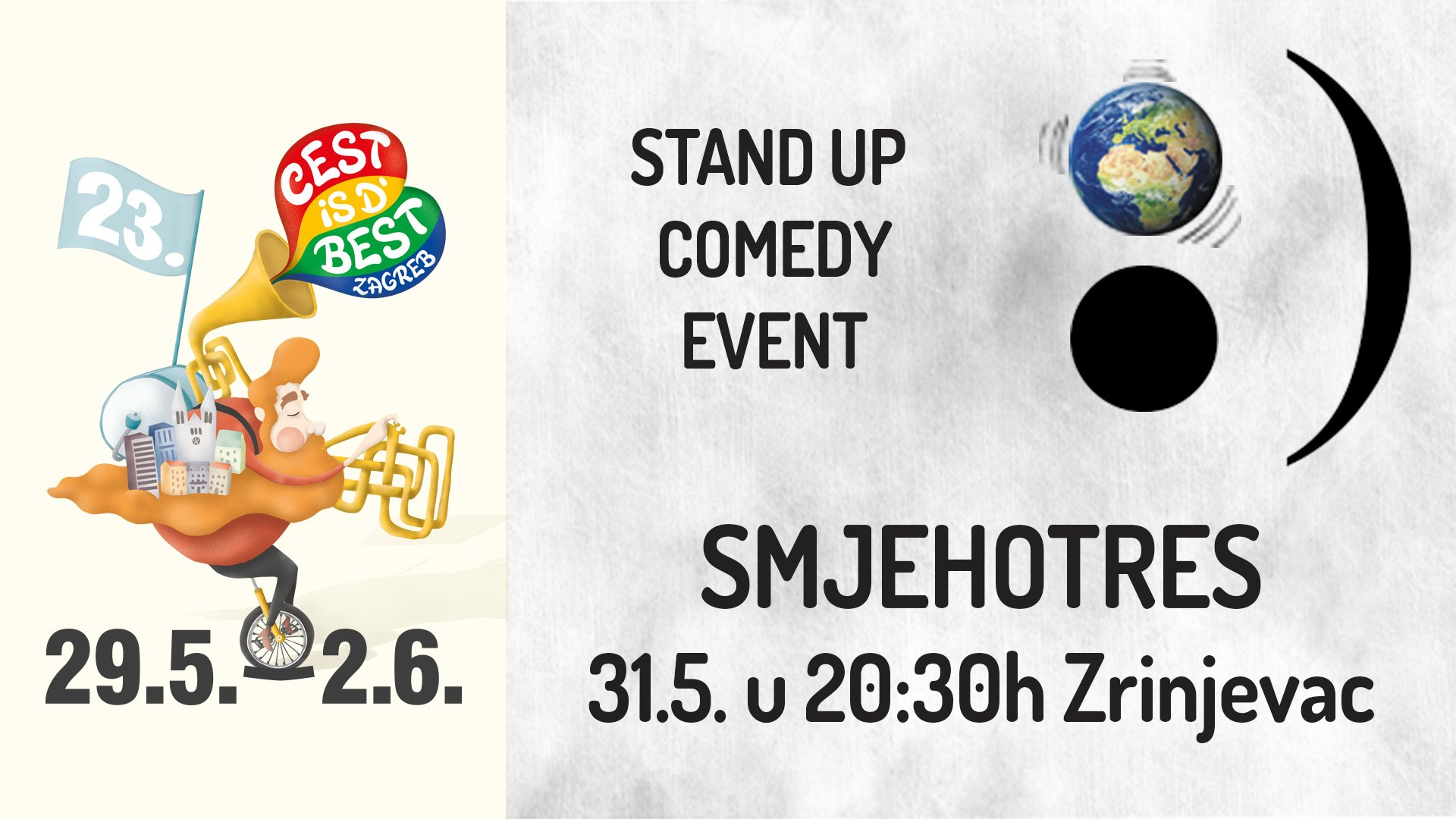 Zagreb Smjehotres besplatan stand up comedy event